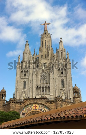 View construction of the Temple of the Sacred Heart.Tibidabo. Barcelona - stock photo