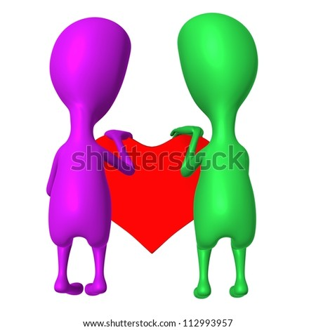 View 3d puppet share heart together from behind - stock photo
