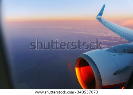 view form a airplane window - stock photo