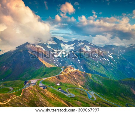 View from a bird's eye of Grossglockner High Alpine Road. Austria, Alps, Europe. - stock photo