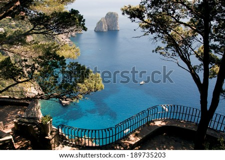 View from a cliff on the island of Capri, Italy, and rocks in the sea - stock photo