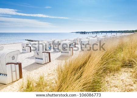 View from a dune at Beach Chairs - stock photo