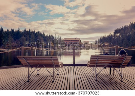View from a height at the wooden pier and cozy bench on a background of the beautiful lake and forest at sunny day.Panoramic view Lakes.Germany.Europe. - stock photo