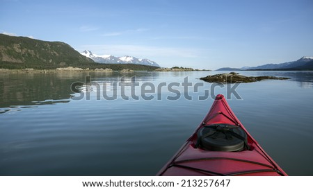 View from a Kayak in the Chilkat Inlet in Southeast Alaska on a calm day. - stock photo
