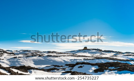 view from a mountain near Bergen city In Norway - stock photo
