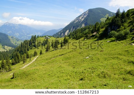 View from a peak of the bavarian Alps in Summer - stock photo