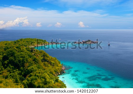 View from a viewpoint on the island Miang, Similan islands, Thailand - stock photo