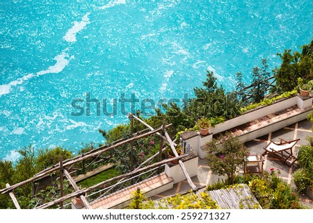 View from above at one of  terraces  in Positano, Amalfi coast. - stock photo