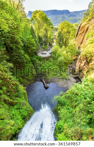 View from above Multnomah Falls in the Columbia River Gorge in Oregon - stock photo