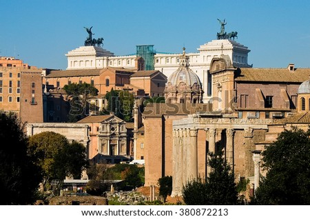 view from above of Imperial Forum in Rome with the background Piazza Venezia,italy - stock photo