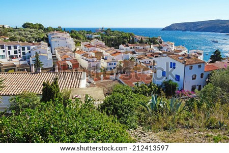 View from above of the typical Mediterranean village of Cadaques, Costa Brava, Catalonia, Spain - stock photo