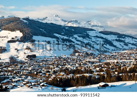 View from Above on Mountain Village of Megeve, French Alps - stock photo