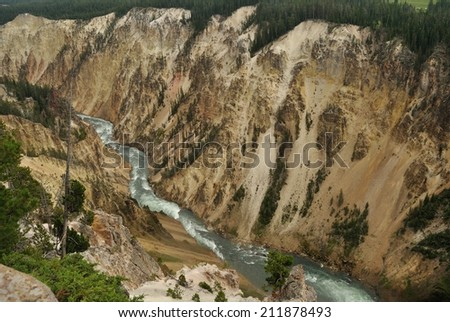 view from above on river canyon in yellowstone national park, wyoming, usa - stock photo