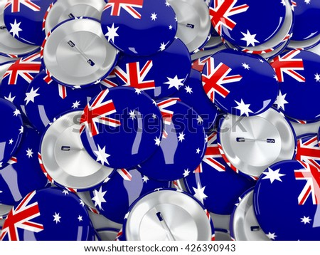 View from above on stack of button badges with flag of Australia. Realisitc 3d render - stock photo