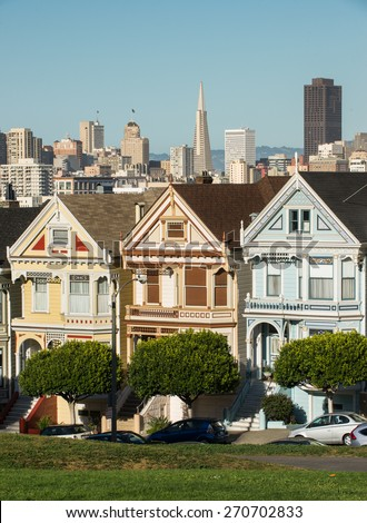 View from Alamo Square during sunny day San Francisco. - stock photo