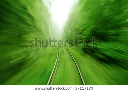 View from an express train on high speed - stock photo