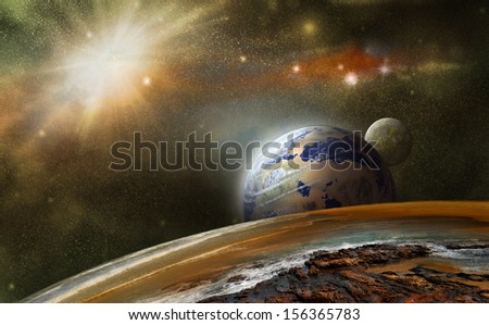 view from another planet in outer space and distant planets - stock photo