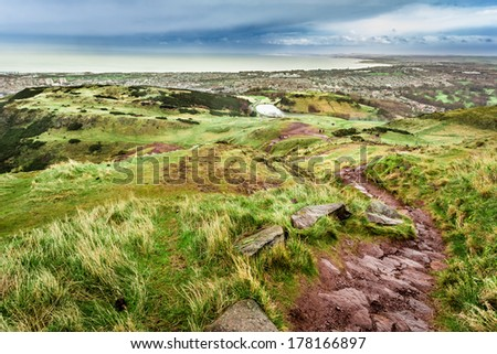 View from Arthur's Seat to Edinburgh bay - stock photo