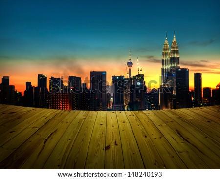 View from balcony. Kuala Lumpur is the capital city of Malaysia. - stock photo