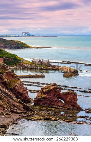 View from Berwickshire Coastal Path on the Cove Bay in Scotland, UK - stock photo