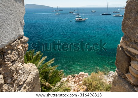 View from Bodrum Castle Aegean Sea - stock photo