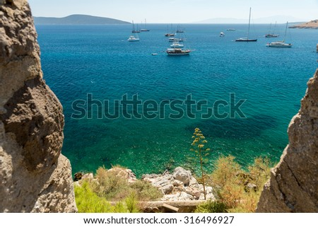 View from Bodrum Castle over bay and Aegean Sea - stock photo