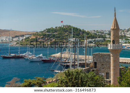 View from Bodrum Castle over Bodrum City and harbor - stock photo