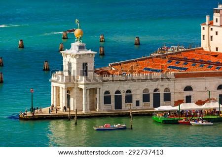 View from Campanile di San Marco to Dogana di Mare, Venice, Italia - stock photo