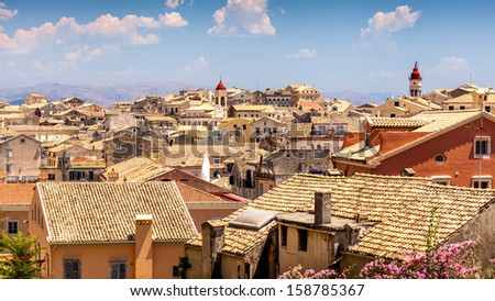 View from castle to Corfu-Town / Kerkyra in Greece - stock photo