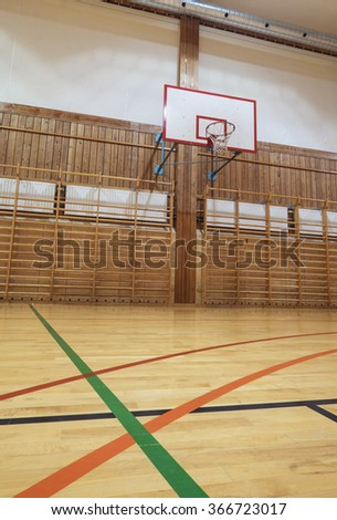View from center court in old gymhall - stock photo