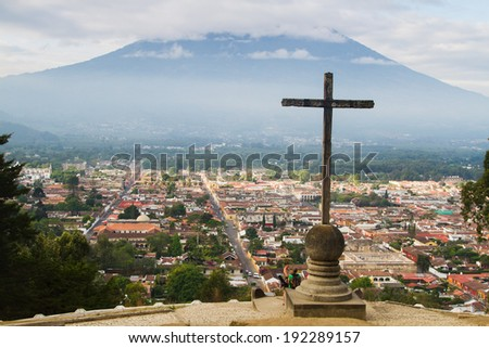 View from Cerro de la Cruz in Antigua, Guatemala, Central America. Antigua is former capital which was moved to Guatemala City after earthquake. - stock photo