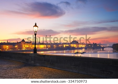 View from Charles Bridge in Prague - selective focus - stock photo
