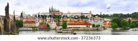 View from  Charles Bridge. Old Town. Prague, Czech  Republic. Panorama - stock photo