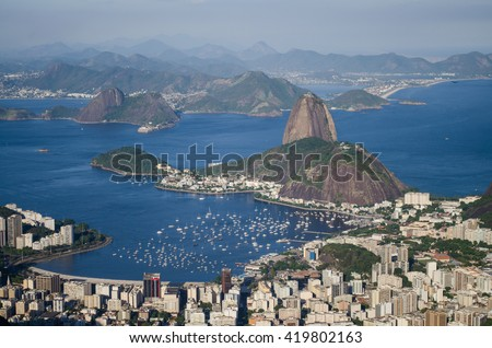 View from Christ the Redeemer to the Sugar Loaf in Rio de Janeiro, Brazil - stock photo