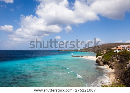 View from coral estate Curacao ( Dutch Antilles)  an island in the Caribbean Ocean  - stock photo