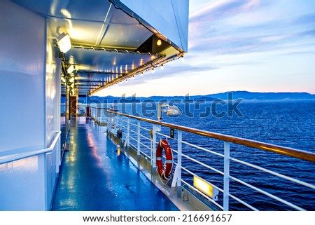 View from deck of cruise ship - stock photo