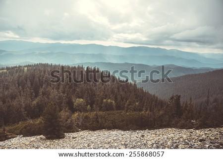 View from Dovbushanka mountain, Ukraine - stock photo