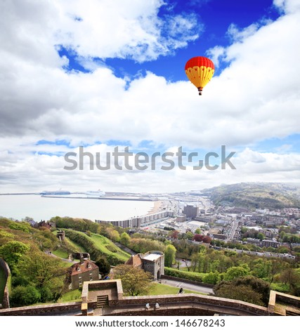 view from Dover castle in England UK  - stock photo