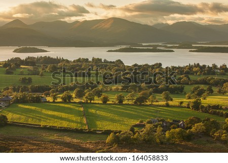 View from Duncryne Hill over Loch Lomond - stock photo