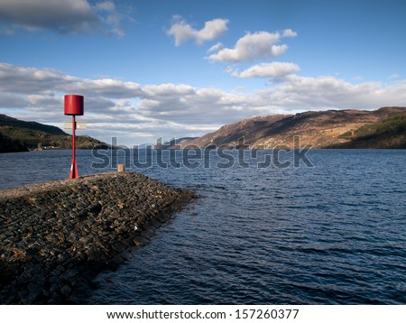 View from Fort Augustus over the famous Loch Ness in Scotland - stock photo