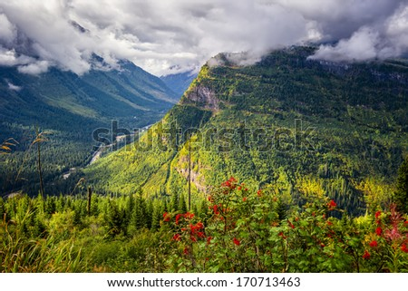 View from Going to the Sun Road on a sunny autumn morning in Glacier National Park, MT - stock photo