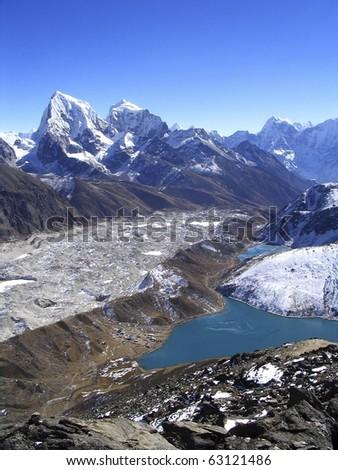 View from Gokyo Ri in the Nepalese Himalaya - stock photo