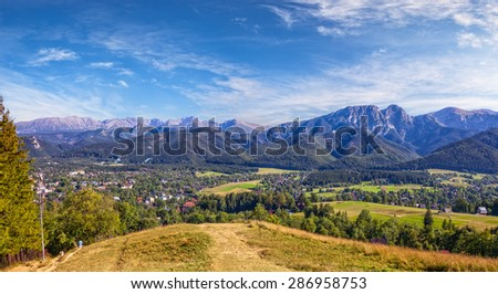 View from Gubalowka on the Tatra Mountains, Poland. - stock photo