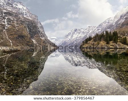 view from Gudvangen village towards fjord, Norway - stock photo