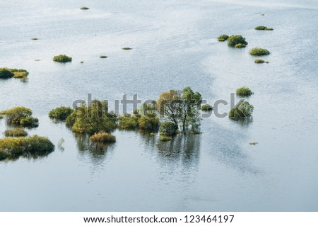 View from high bank on annual spring overflow of Desna River panorama. Novgorod-Siversky, Ukraine. - stock photo