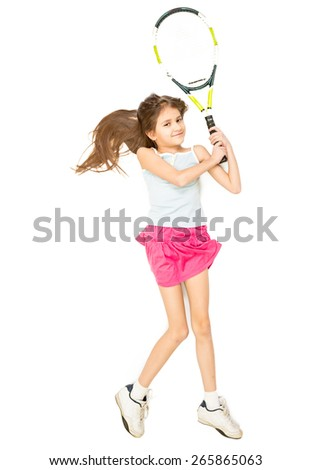 View from high point of girl lying on floor and pretending to play tennis - stock photo
