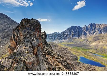 View from highest mountain sports pass. Eastern Sayan. The Republic of Buryatia - stock photo