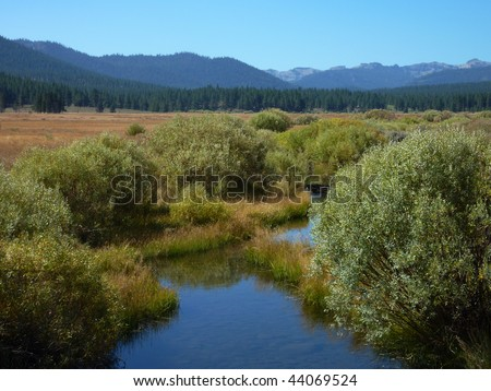 View from hike of Martis Creek Lake, near Truckee, California in the Sierra - stock photo