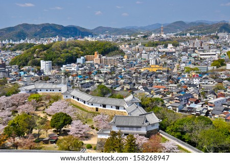 View from Himeji Castle, Japan, overlooking the town.  - stock photo