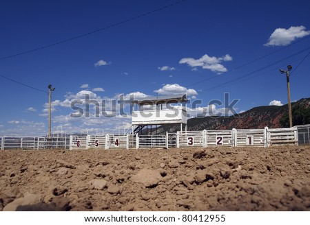 View from inside a small town rodeo arena. - stock photo